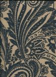 Savile Row SketchTwenty3 Flock Wallpaper Paisley Teal SR00515 By Tim Wilman For Blendworth